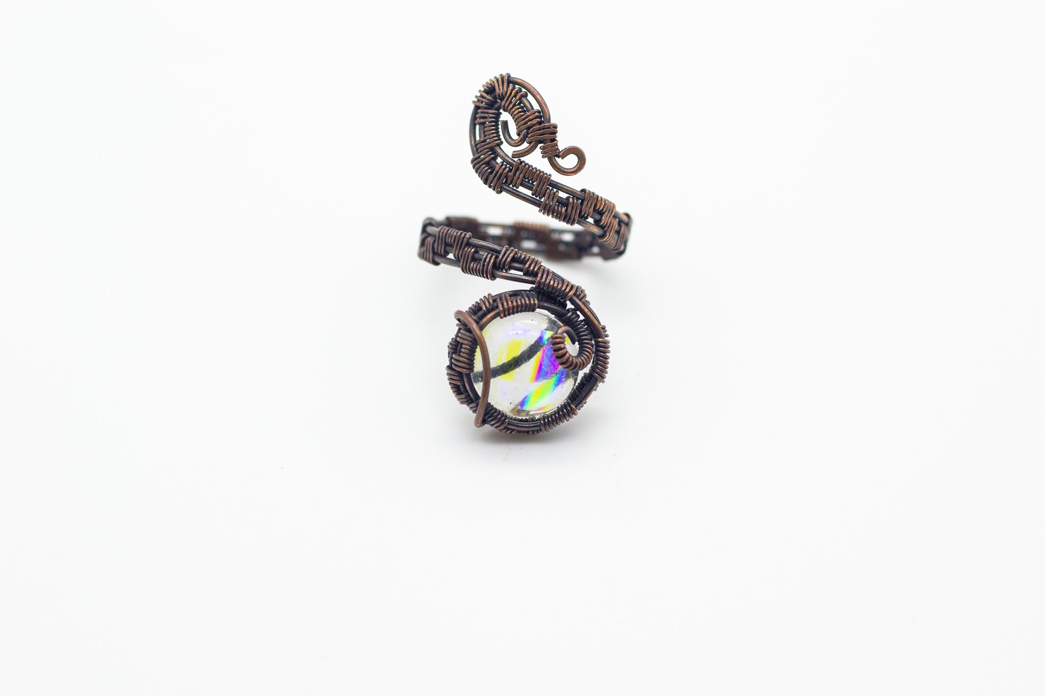 handmade copper wire wrapped adjustable ring with colorful transparent fused glass accent