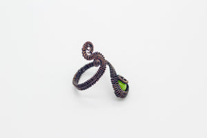 handmade copper wire wrapped adjustable ring with bright green fused glass accent