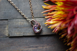 Shades of Fall Fused Glass Mini Pendant with Copper Wire Wrapping