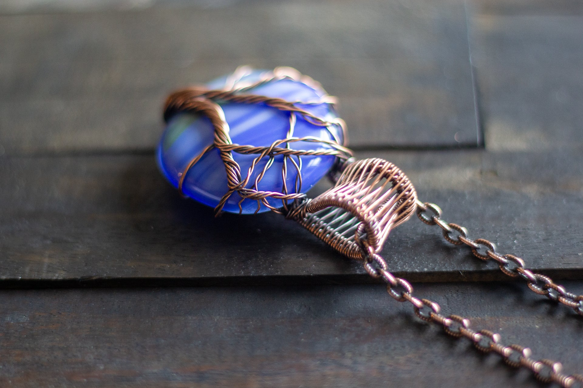 Streaked Blue Fused Glass and Copper Wire Wrapped Tree of Life Pendant