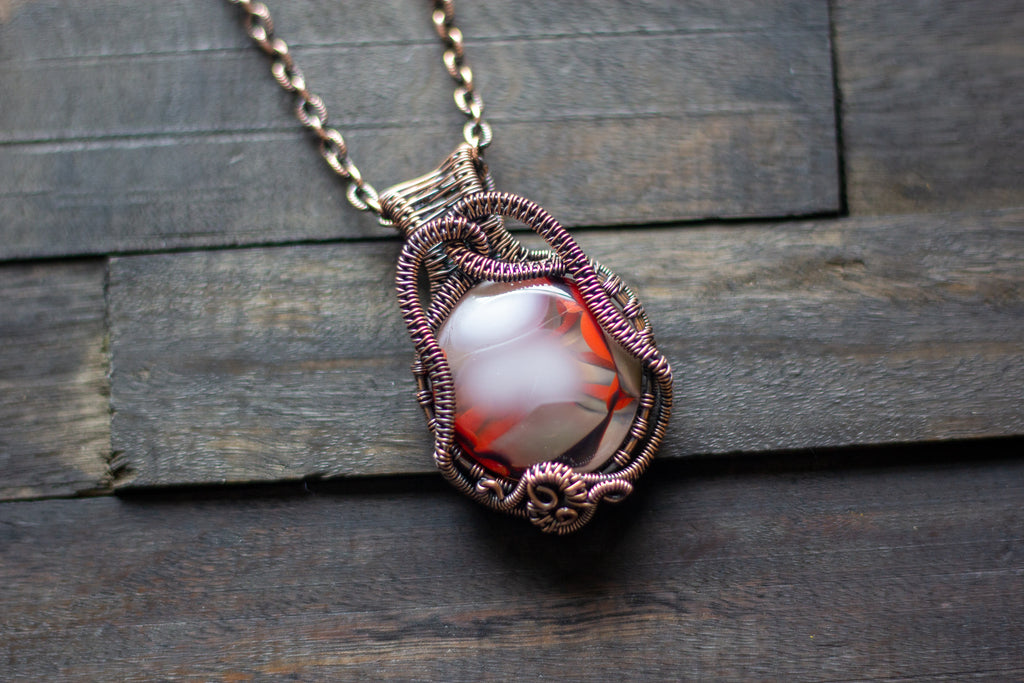 Red and White Fused Glass Pendant with Copper Wire Wrapping