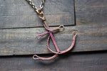 Copper Wire Wrapped Anchor Pendant