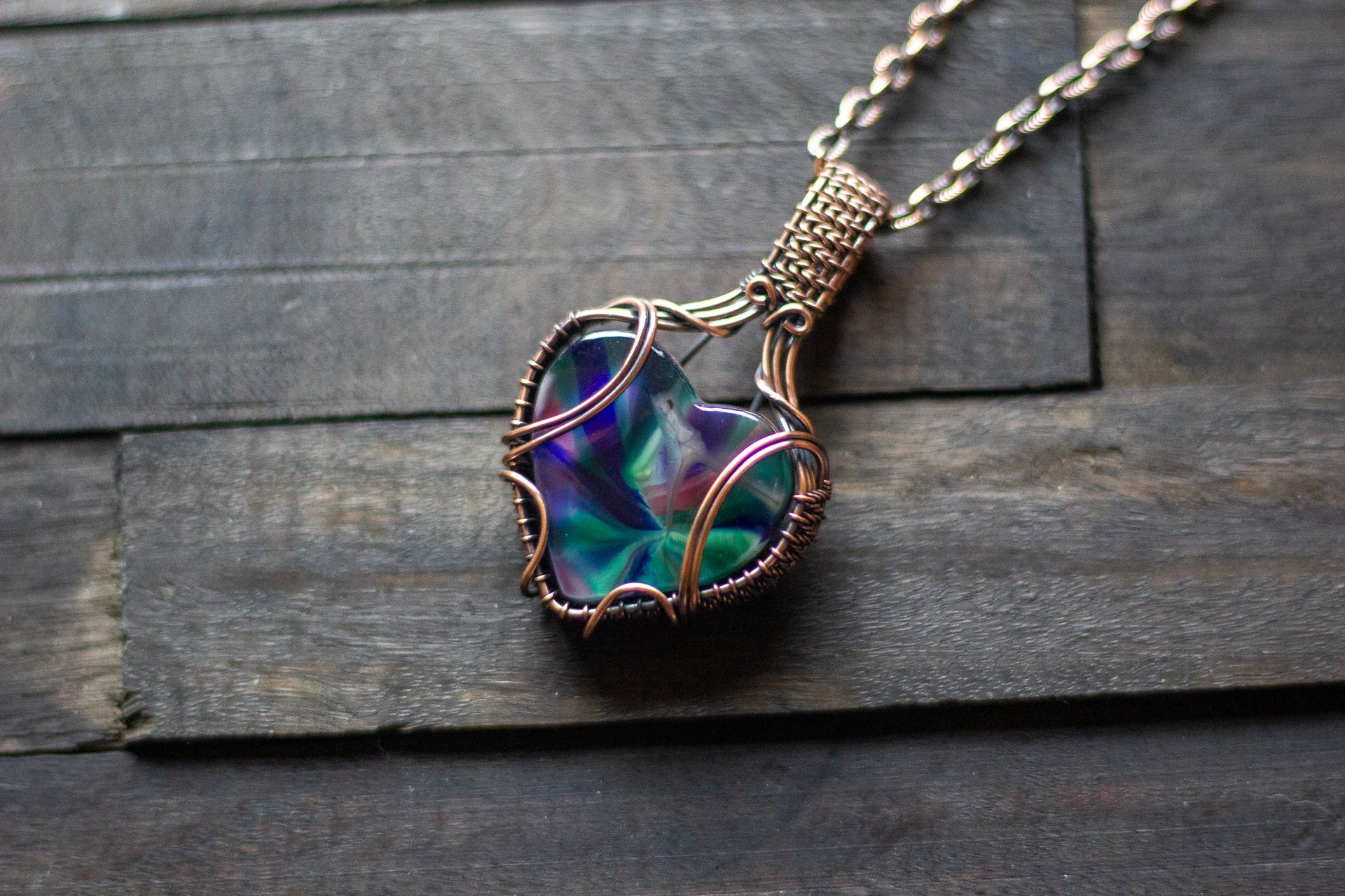 Multi-color Swirl Heart Fused Glass Pendant with Copper Wire Wrapping