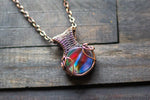 Sunset's Reflection Fused Glass Pendant with Copper Wire Wrapping