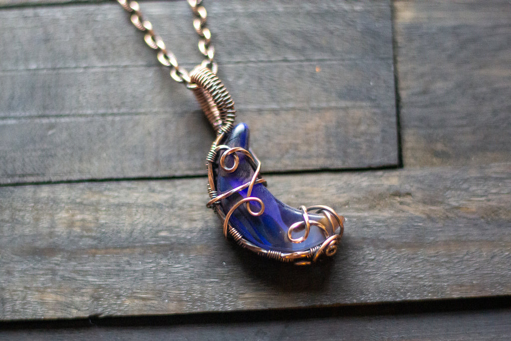 Shades of Blue Crescent Moon Pendant with Copper Wire Wrapping