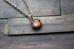 Shades of Sunrise Fused Glass Mini Pendant with Copper Wire Wrapping