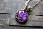 Flower In Bloom Purple Fused Glass and Copper Wire Pendant