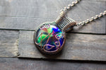Multi-color Flower in Bloom Pendant with Copper Wire Wrapping