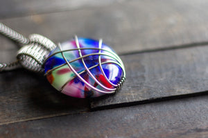 Crisscross Sterling Silver Pendant with Multi-color Fused Glass Cabochon
