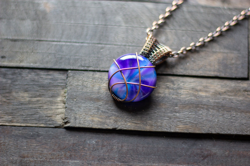 Purple and Blue Crisscross Copper Wire Wrapped Pendant