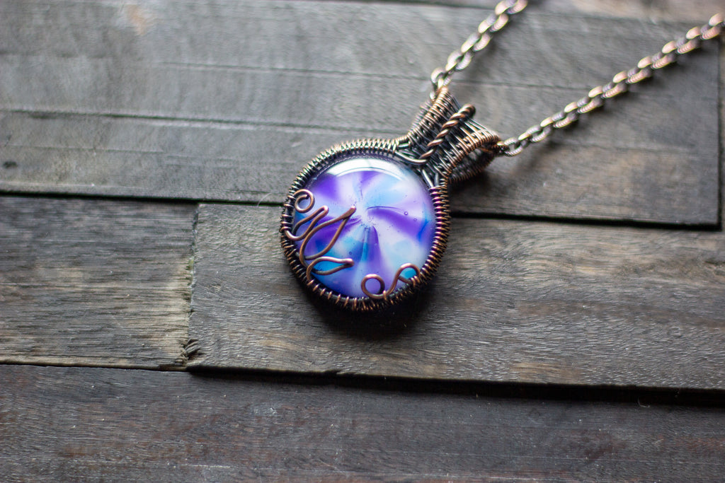 Purple and Blue Flower in Bloom Copper Wire Wrapped Pendant