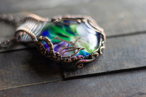 Leaves of Spring Copper Wire Wrapped Statement Pendant