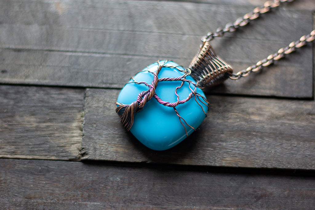Bright Blue Fused Glass and Copper Wire Wrapped Tree of Life Pendant