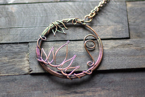 Lotus Flower Copper Circular Pendant