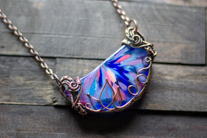 Flower in Bloom Statement Pendant with Copper Wire Wrapping