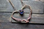 Copper Heart Necklace with Dark Blue Fused Glass Accent