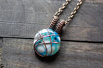 Copper Crisscross Pendant with Light Blue and White Fused Glass