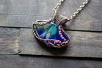Streaks of Blue and Green Fused Glass Pendant with Copper Wire Wrapping