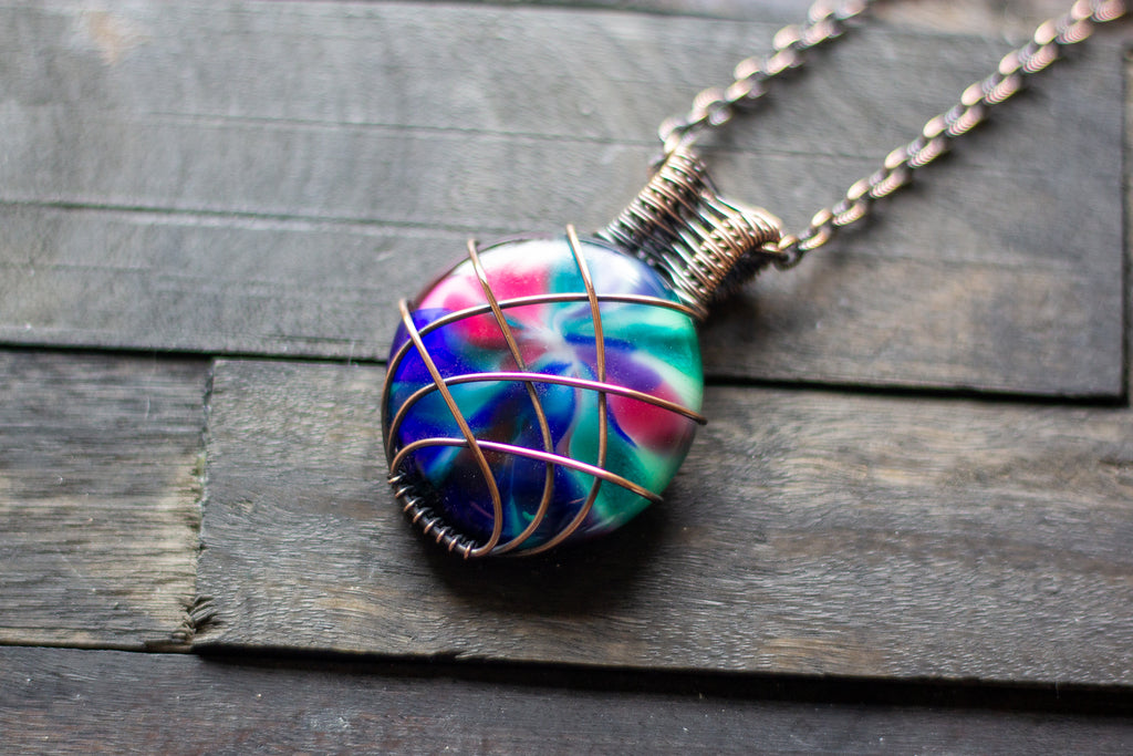 Copper Wire Wrapped Pendant with Multicolored Fused Glass Cabochon