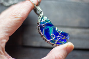 Blue and Green Fused Glass Crescent Moon Pendant with Sterling Silver Wire Wrapping