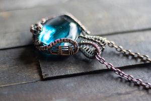 Streaked Blue Transparent Fused Glass Pendant with Copper Wire Wrapping