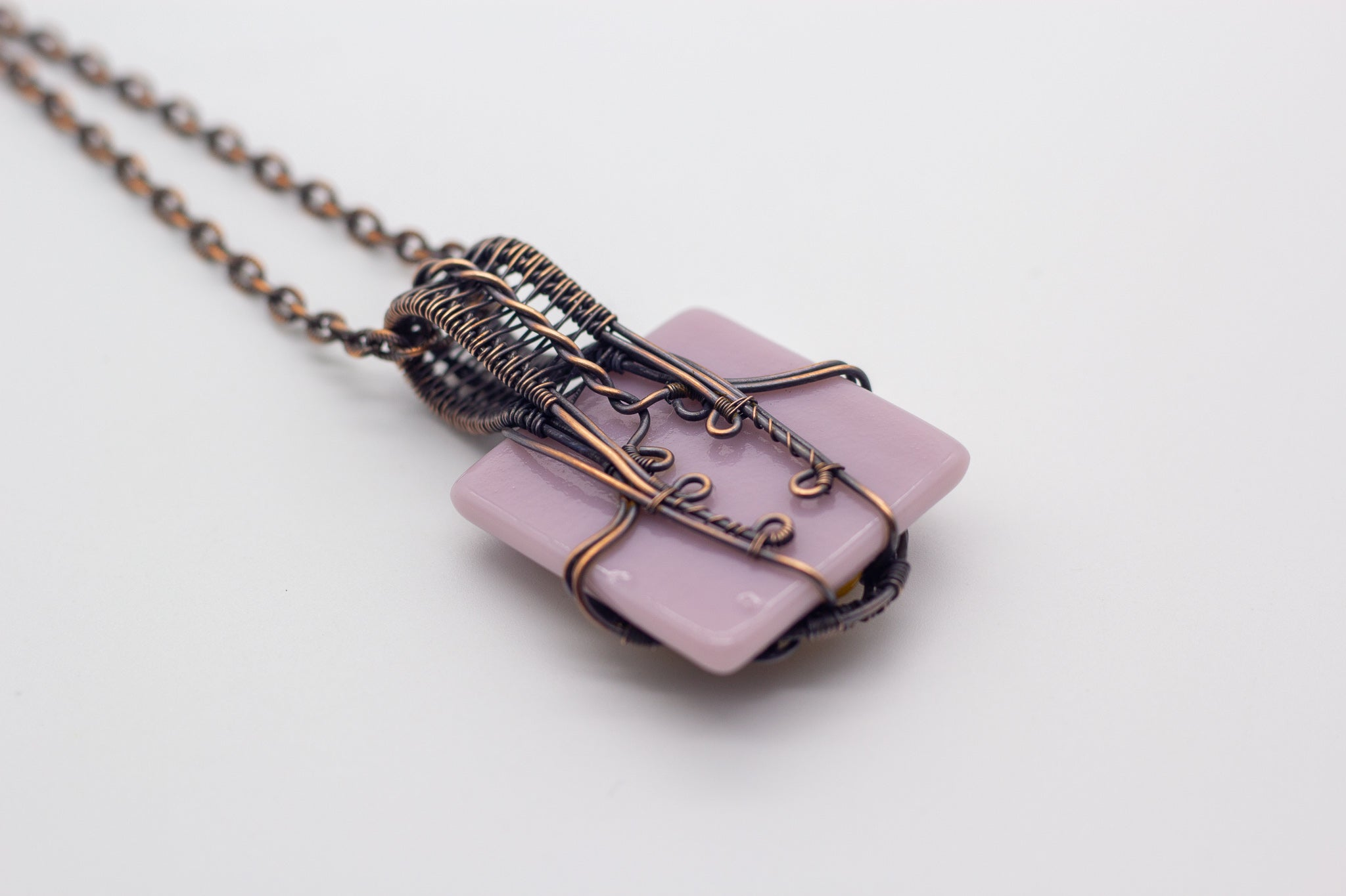 Lavender and Yellow Fused Glass Pendant with Copper Wire Wrapping