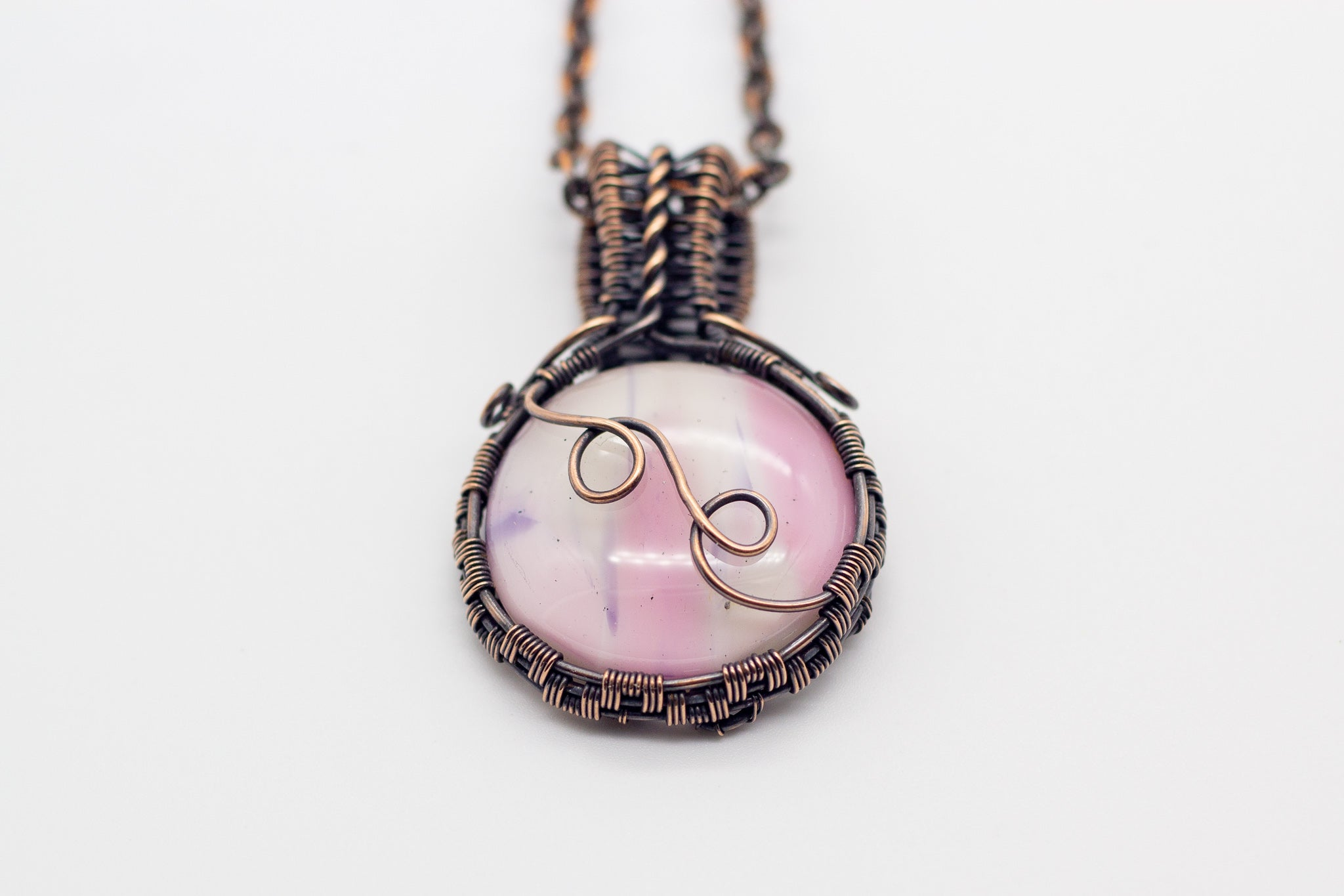 Pink and Cream Fused Glass Pendant with Copper Wire Wrapping