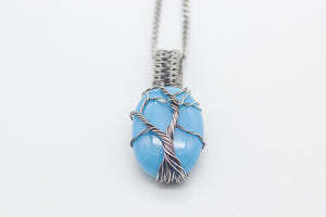 Sterling Silver Tree of Life Pendant with Baby Blue Fused Glass