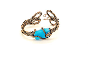 bright-blue-fused-glass-copper-wire-wrapped-bracelet-nymph-in-the-woods-jewelry