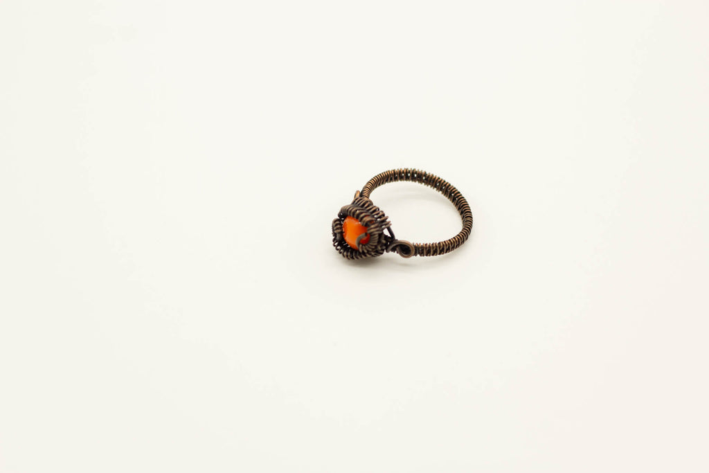 copper-wire-wrapped-ring-orange-fused-glass-nymph-in-the-woods