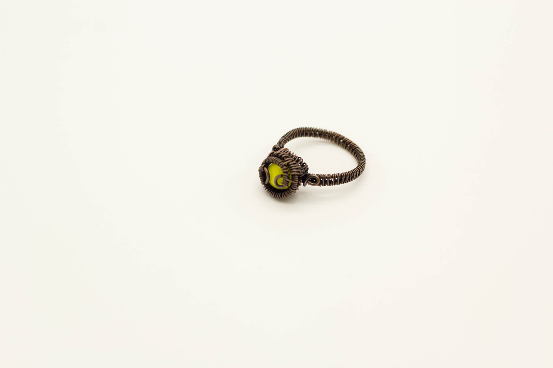 yellow-fused-glass-copper-wire-wrapped-ring-nymph-in-the-woods-jewelry