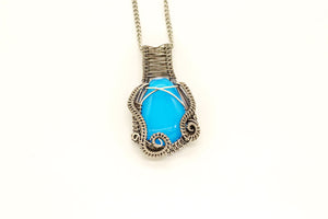 bright-blue-fused-glass-pendant-sterling-silver-wire-wrapped-nymph-in-the-woods-jewelry