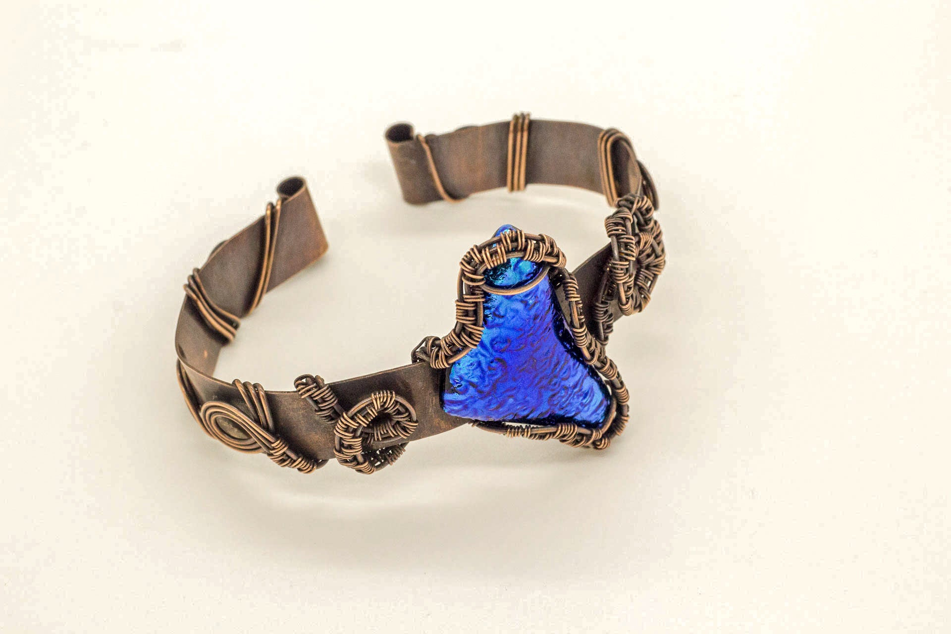 copper-cuff-bracelet-blue-dichroic-fused-glass-nymph-in-the-woods-jewelry