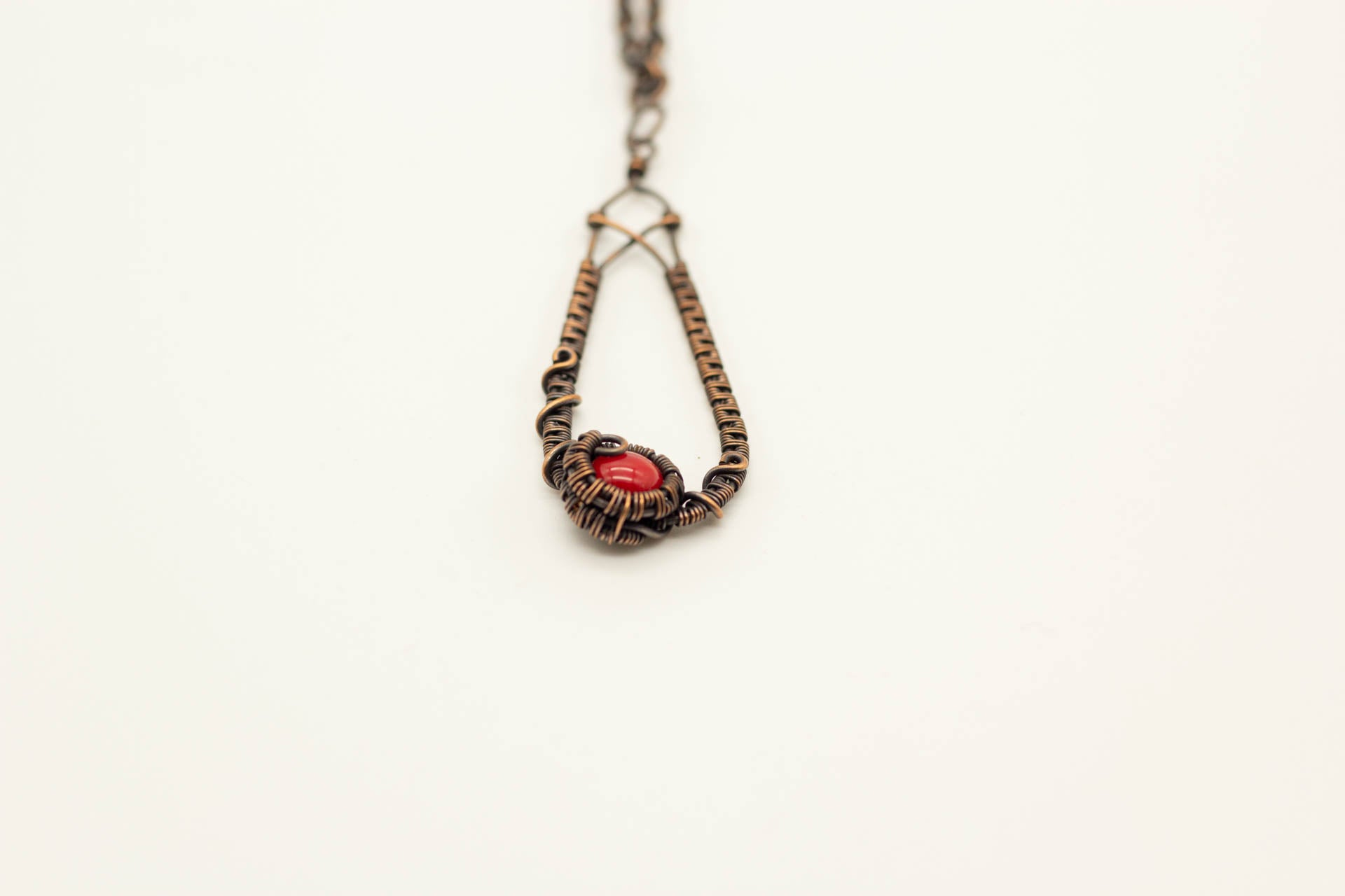 copper-wire-wrapped-teardrop-pendant-red-fused-glass-nymph-in-the-woods
