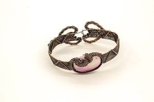 pink-white-fused-glass-copper-wire-wrapped-bracelet-nymph-in-the-woods-jewelry