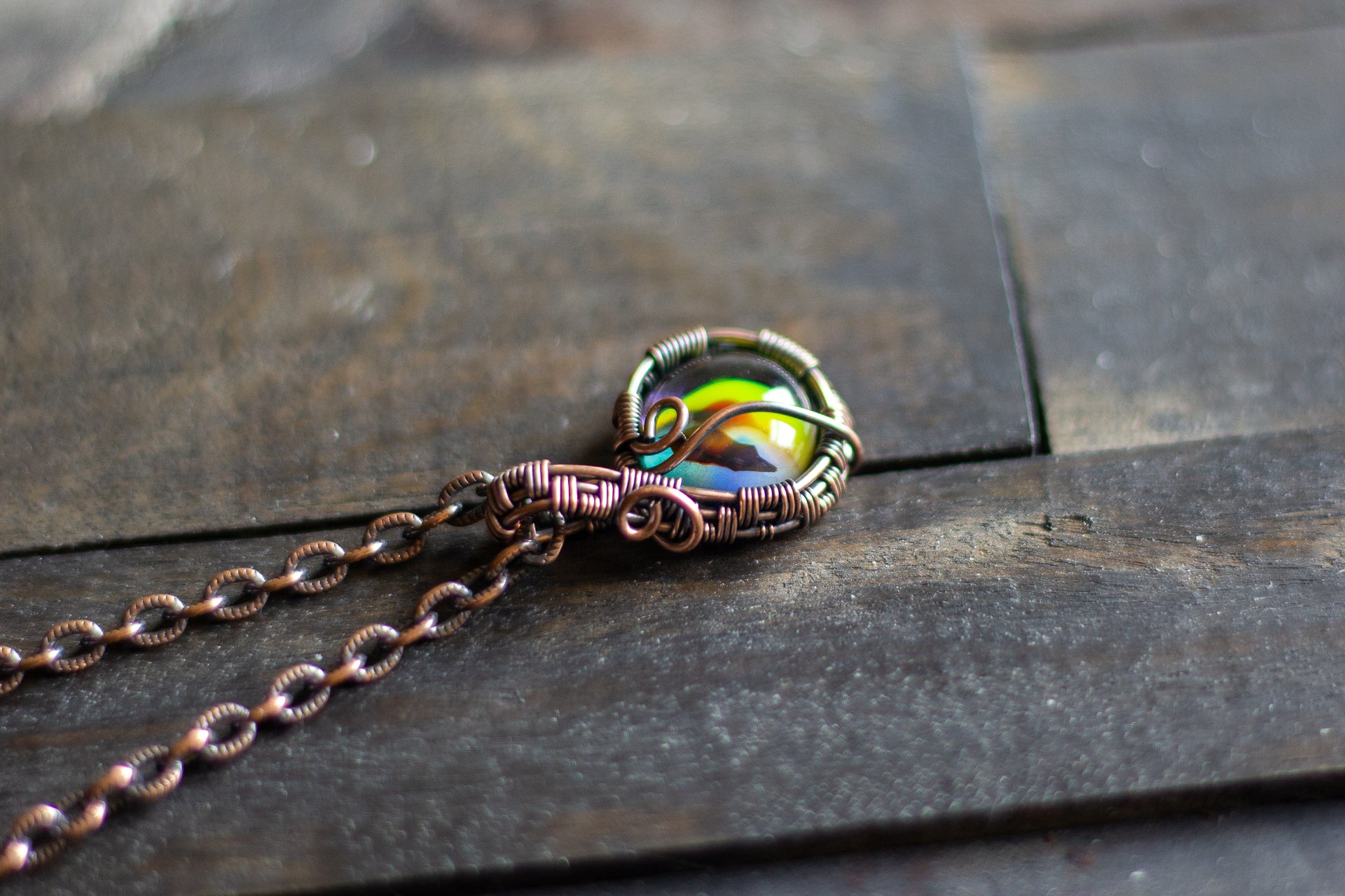 Copper Wire Mini Pendant with Swirled Multicolor Fused Glass