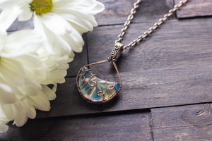 Streaked Blue and White Fused Glass and Copper Wire Pendant