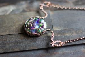 Green and Purple Fused Glass Statement Pendant with Copper Wire Wrapping