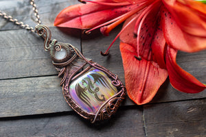 """Dragon Rising"" Copper Pendant with Dichroic Fused Glass"