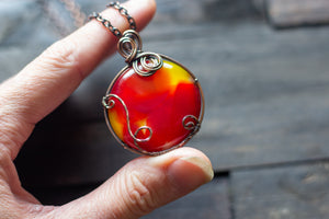 """Shades of Sunrise"" Fused Glass Statement Pendant with Copper Wire"