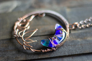 Purple and Blue Moon Pendant with Copper Wire Wrapping
