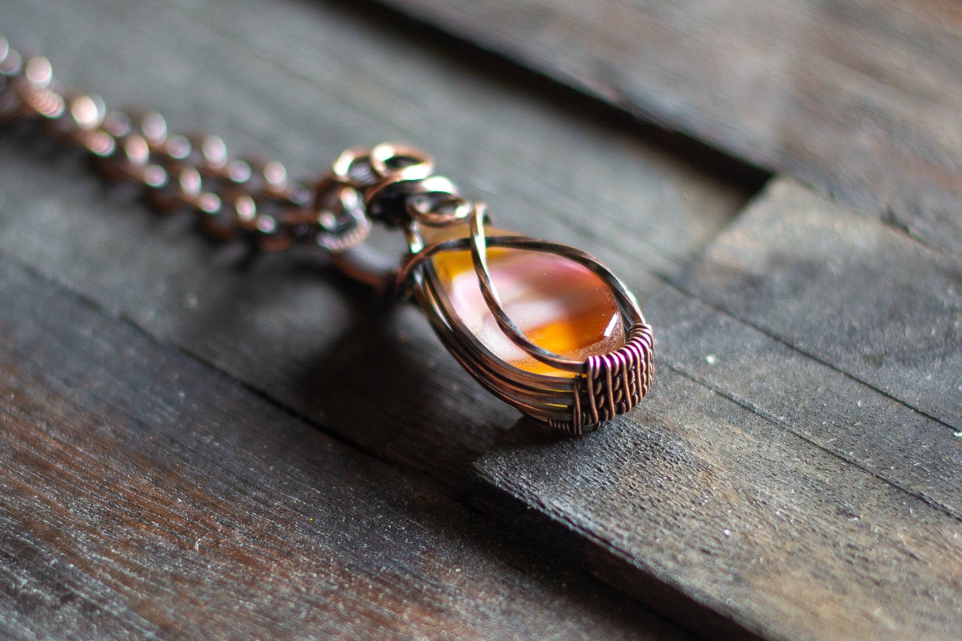Amber Fused Glass Teardrop Pendant with Copper Wire Wrapping