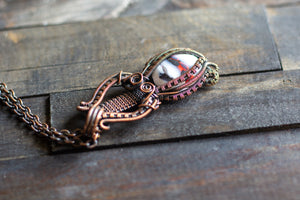 Black, White and Red Fused Glass Statement Pendant with Copper Wire Wrapping