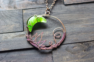 Bright Green Moon Pendant with Copper Wire Wrapping