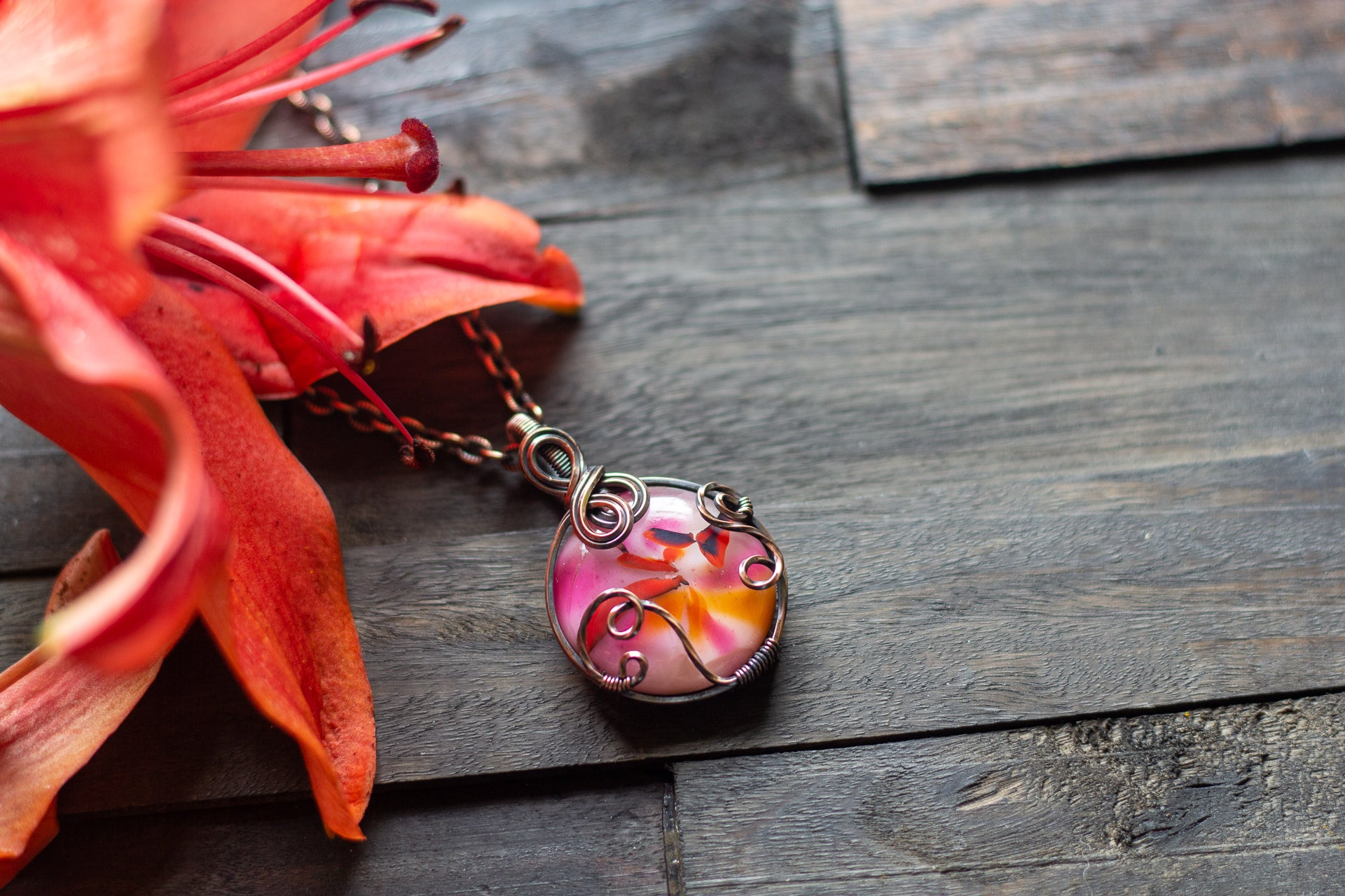 Shades of Pink Fused Glass and Copper Wire Pendant