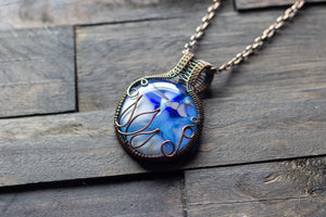 Flower In Bloom Blue and White Fused Glass and Copper Wire Pendant
