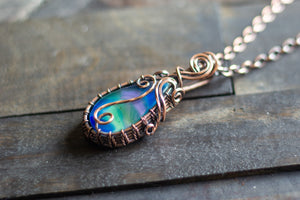 Blue and Green Fused Glass and Copper Wire Pendant