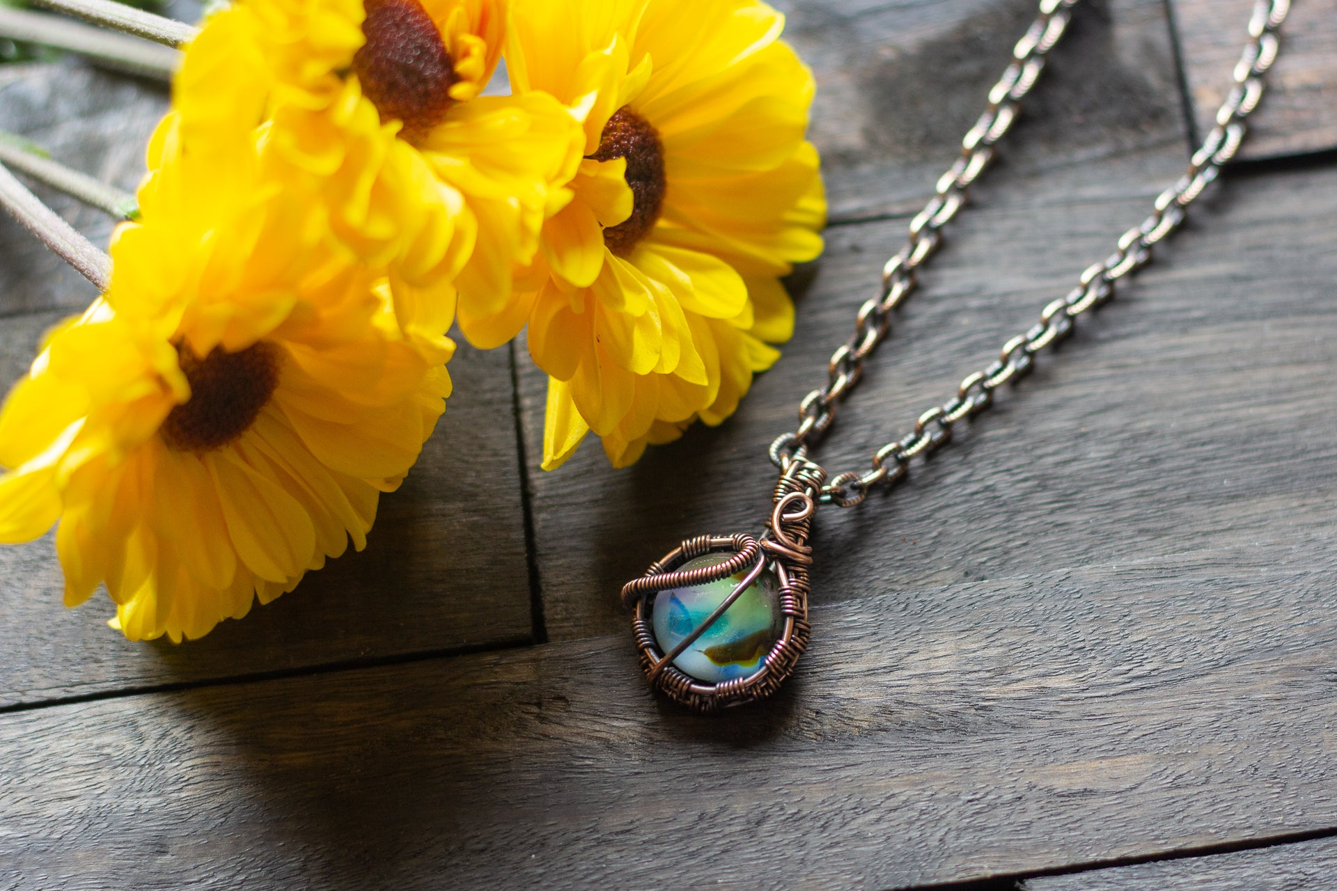 Copper Wire Mini Pendant with Blue and Green Fused Glass