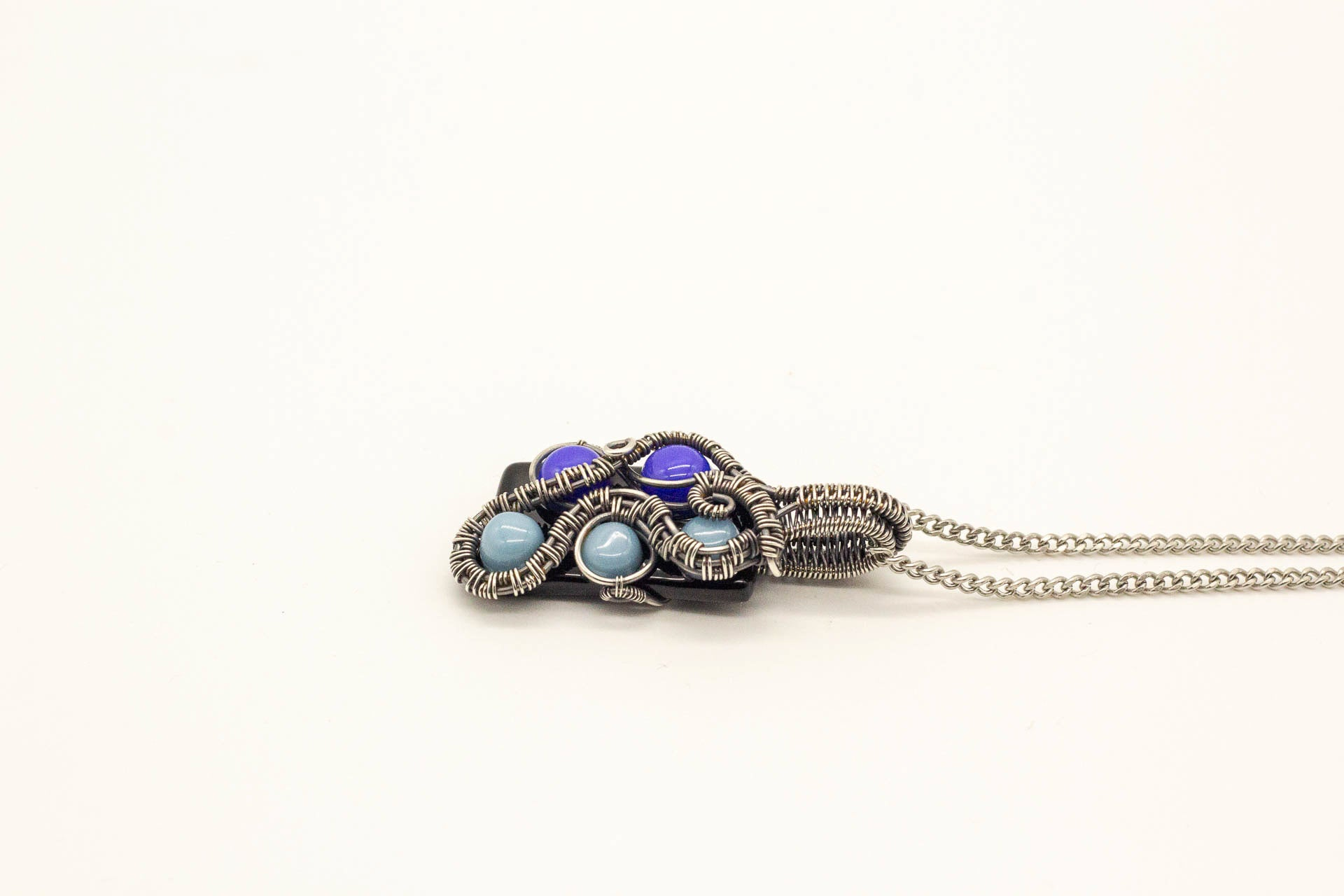 multi-shade-blue-dots-fused-glass-pendant-sterling-silver-wire-wrapped-nymph-in-the-woods-jewelry