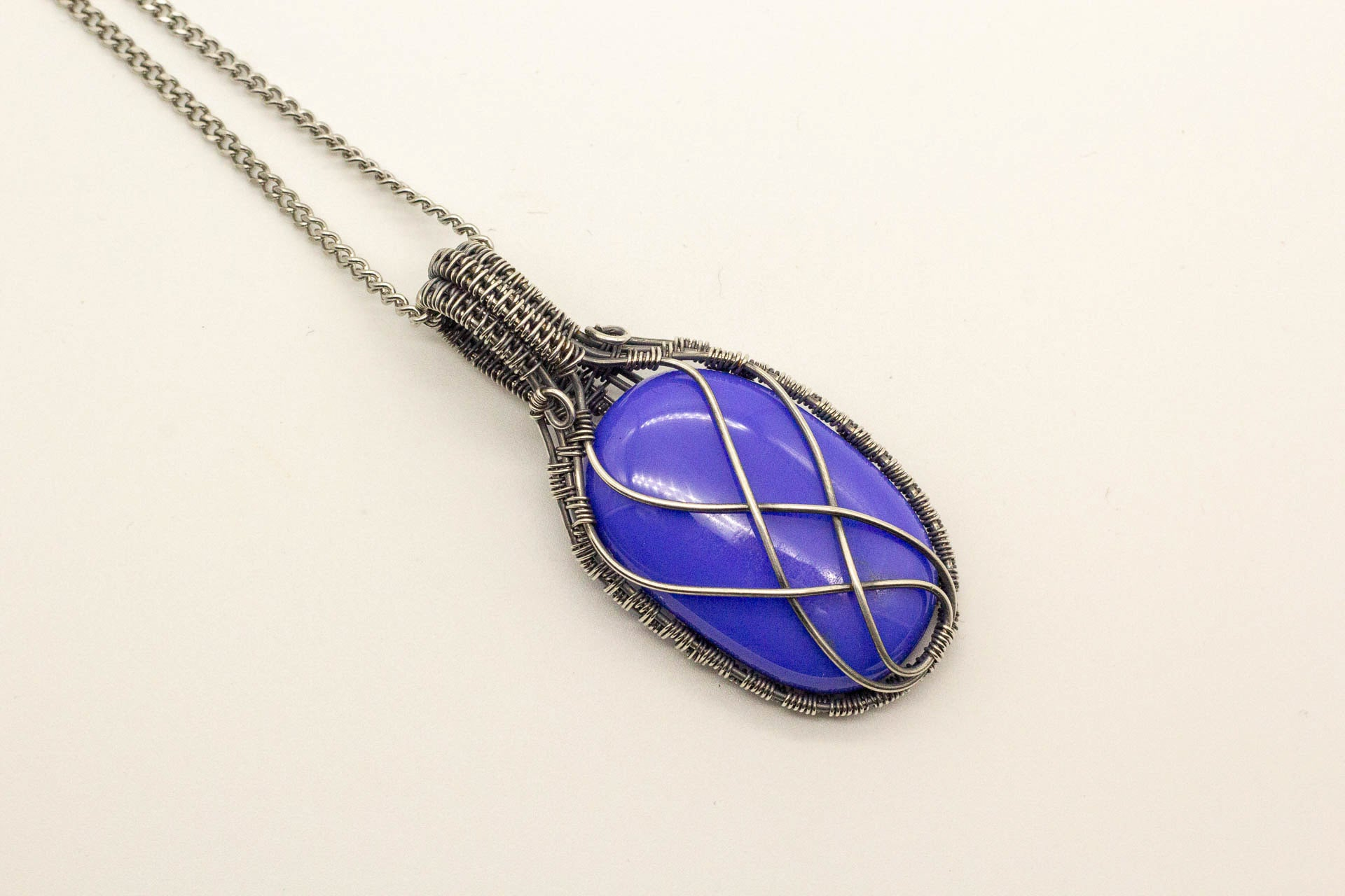 blue-fused-glass-pendant-sterling-silver-wire-wrapping-nymph-in-the-woods-jewelry
